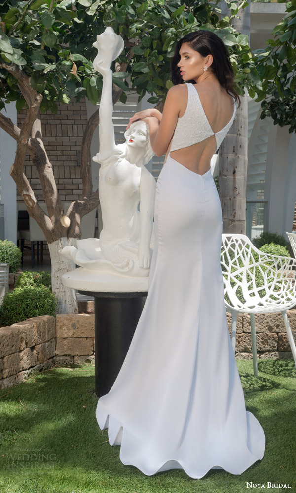 noya bridal riki dalal 2015 style 1107 sleeveless sheath wedding dress sheer nude side insert beaded bodice straps keyhole back view