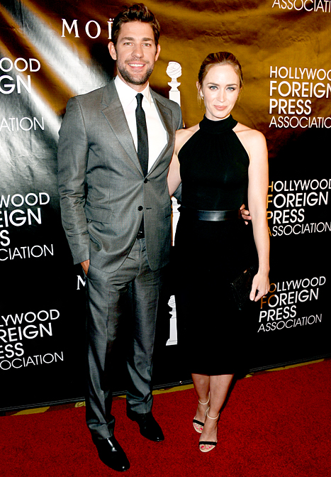 Cutest couple! John Krasinski and Emily Blunt attend the HFPA's Annual Grants Banquet arm-in-arm.