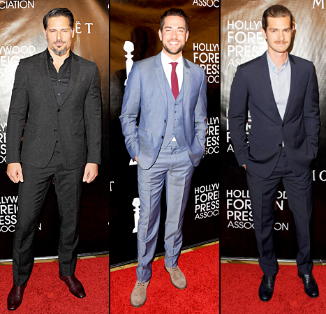 Joe Manganiello, Zachary Levi and Andrew Garfield attend the HFPA's Annual Grants Banquet