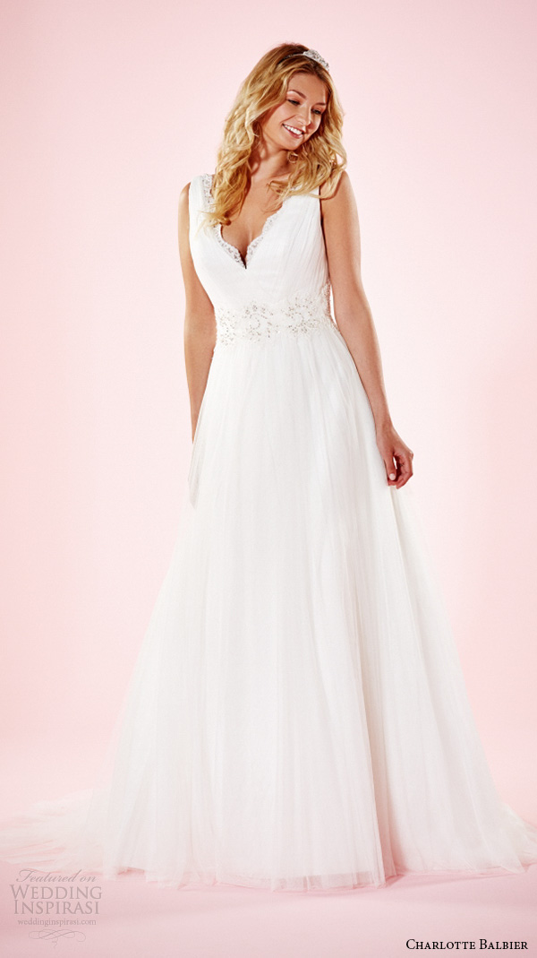 charlotte balbier 2016 bridal dresses thick strap v neckline beaded waist pretty a line wedding gown amba