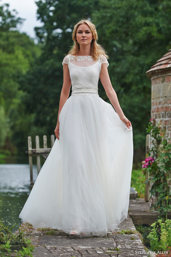 stephanie allin bridal 2016 dominique illusion shrug top tulle skirt