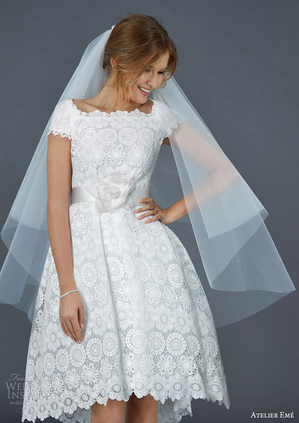 atelier eme 2016 patty short ball gown macame lace cap sleeves cute wedding dress