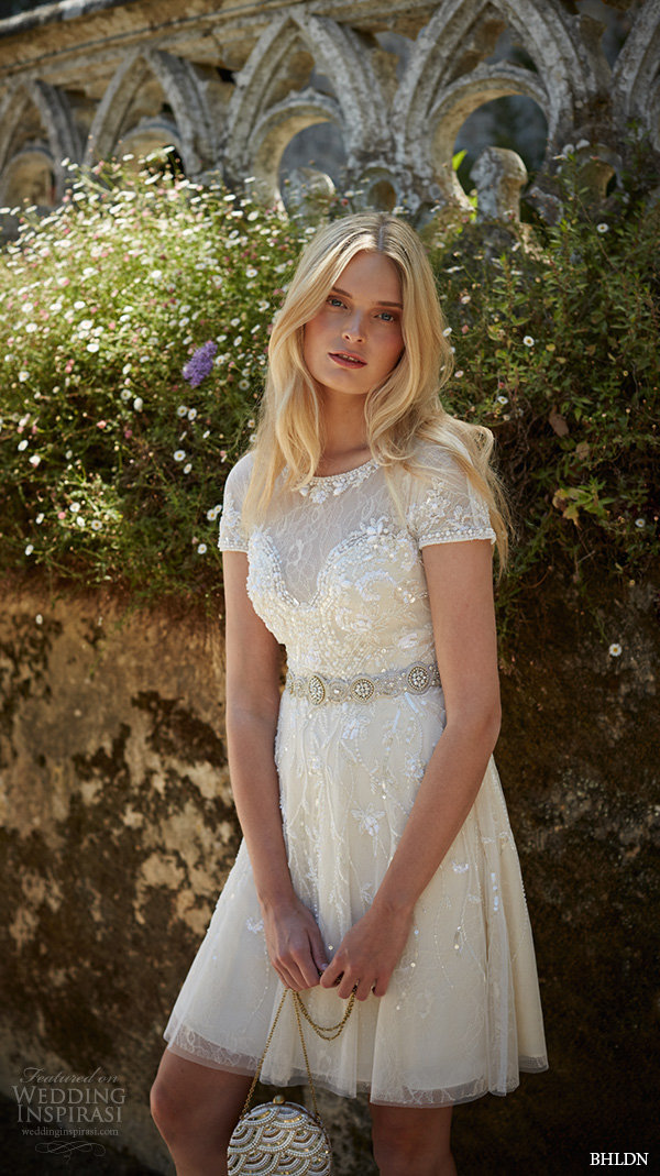 bhldn fall 2015 wedding dresses beaded short sleeve embroideried lace beaded knee length short ivory wedding dress gwendolyn