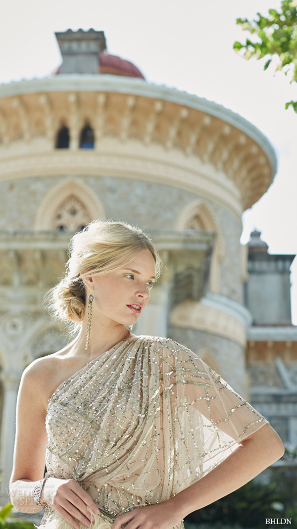 bhldn fall 2015 wedding dresses one shoulder draped beaded applique blouson shell hue sheath wedding dress abigail