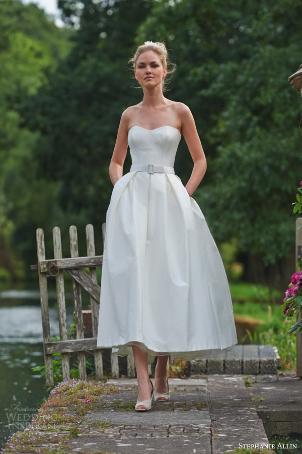stephanie allin wedding dresses 2016 bridal symphony strapless sweetheart bodice midi tea length skirt buckle belt