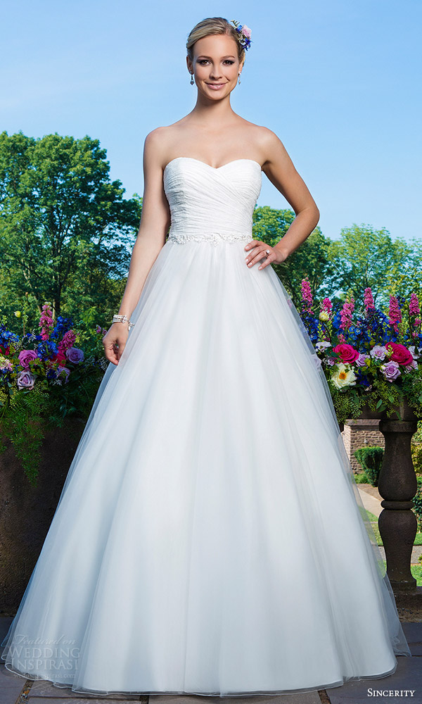 sincerity bridal 2016 style 3866 strapless sweetheart chantilly lace tulle ball gown wedding dress