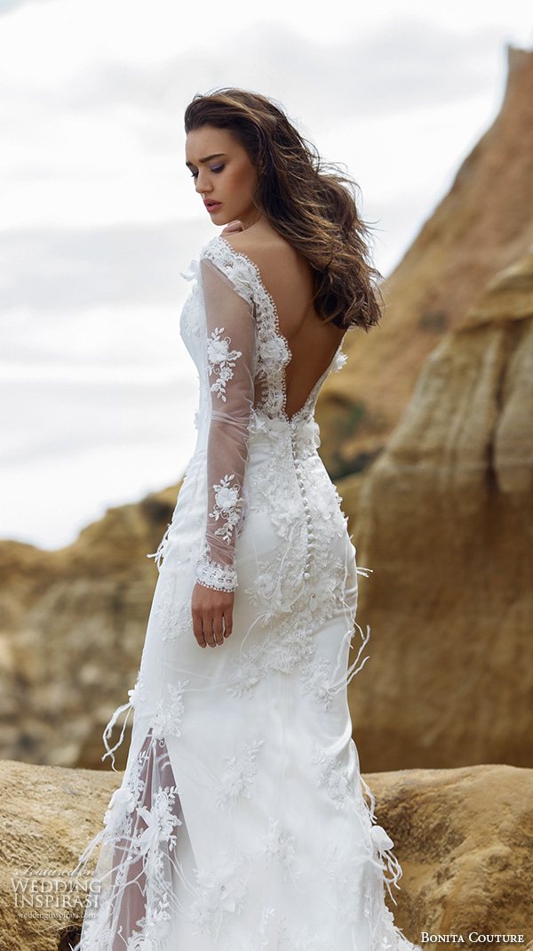 bonita couture 2015 wedding dresses deep plunging corset scallop neckline fish tail train romantic wedding dress feather