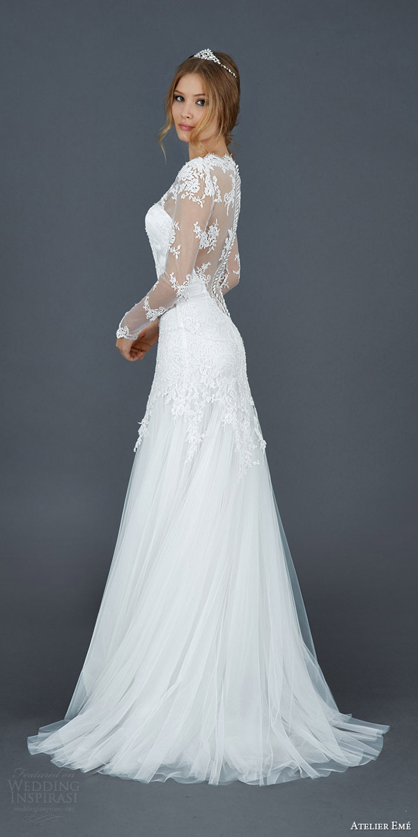 atelier eme 2016 roseto illusion long sleeve scallope lace neckline wedding dress elegant side view