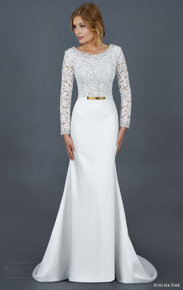 atelier eme bridal 2016 long sleeve lace bodice wedding dress style fysir011
