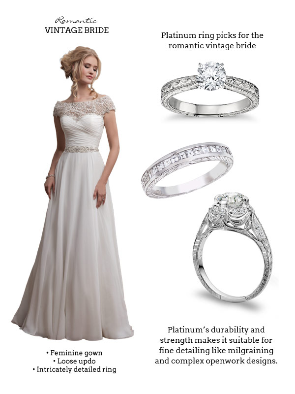Platinum Jewelry Picks for the Romantic Vintage Bride: (from top) Blue Nile, Fusaro, Whitehouse Brothers | Wedding dress: Justin Alexander 8799