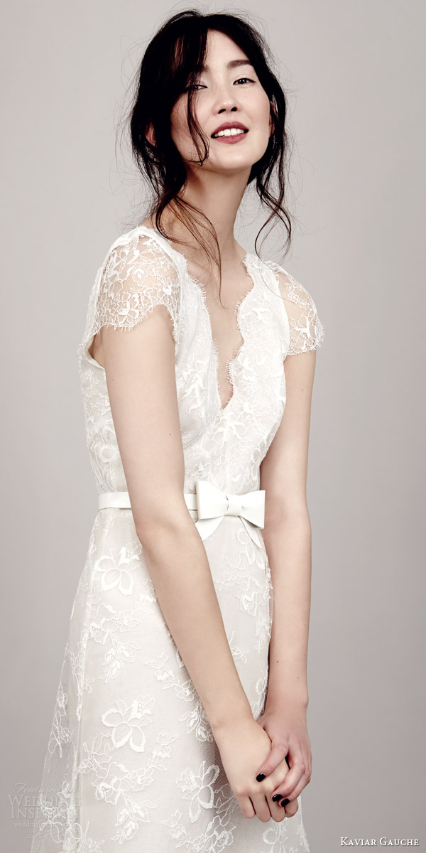 kaviar gauche couture bridal 2015 vivienne s lace wedding dress deluxe close up illusion scalloped cap sleeves