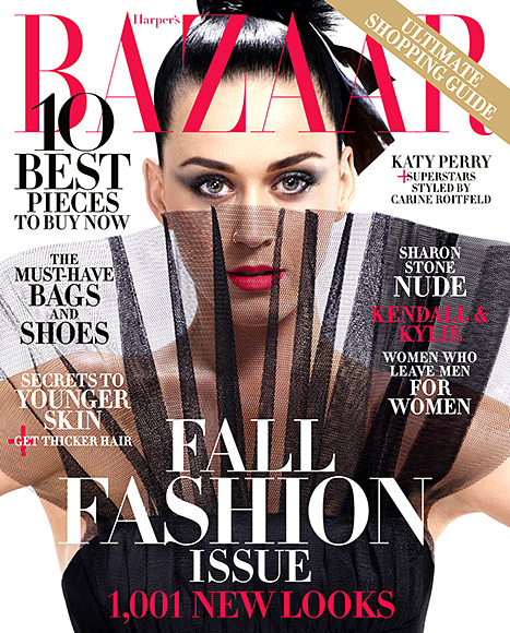 Katy Perry goes high-fashion on the September 2015 cover of Harper's Bazaar.