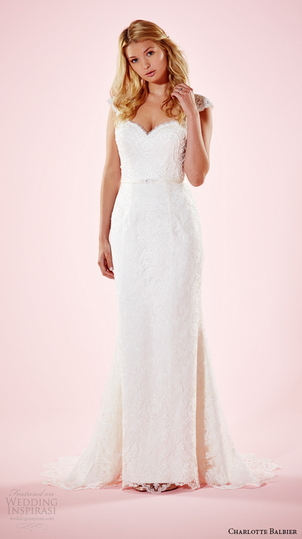 charlotte balbier 2016 bridal dresses lace cap sleeves sweetheart neckline beautiful sheath wedding gown samantha
