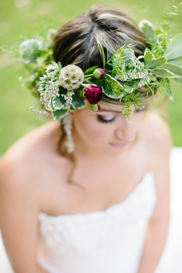 flower crown with greenery - photo by Chelsea Anderson Photography http://ruffledblog.com/crimson-bohemian-wedding-inspiration