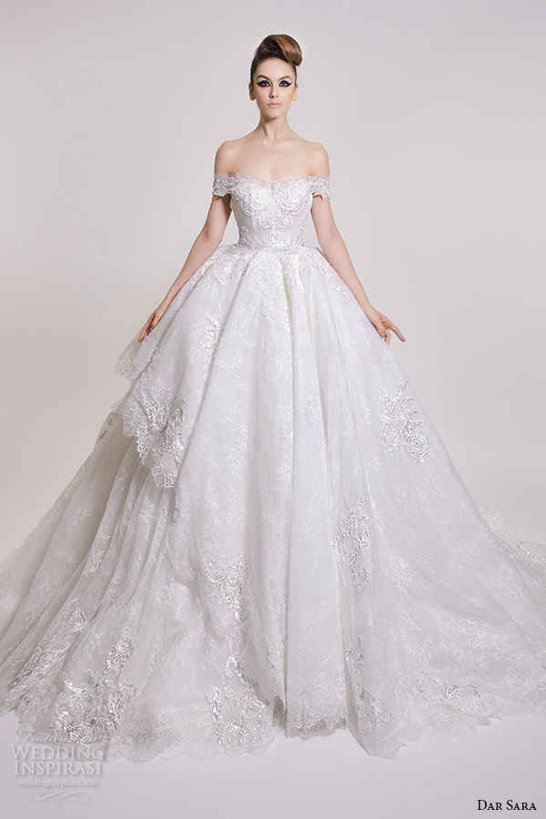 dar sara bridal 2016 wedding dresses gorgeous ball gown off the shoulder semi sweetheart neckline embroidered bodice