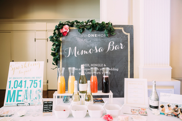 mimosa bar - photo by Under the White Willow Photography http://ruffledblog.com/vintage-london-wedding-inspiration