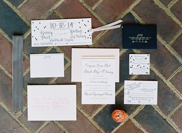 wedding invitations - photo by Elisa Bricker http://ruffledblog.com/southern-keswick-vineyards-wedding