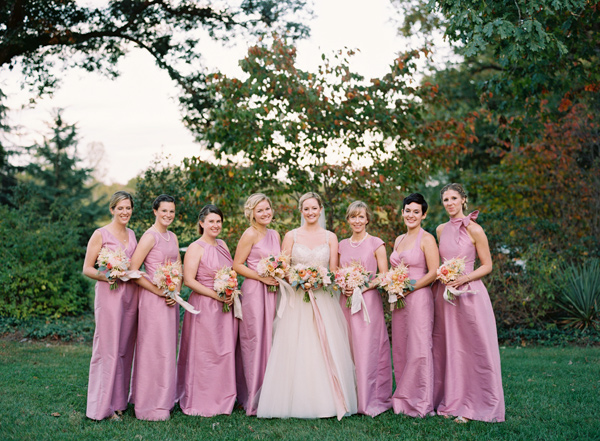 bridesmaids in purple - photo by Elisa Bricker http://ruffledblog.com/southern-keswick-vineyards-wedding