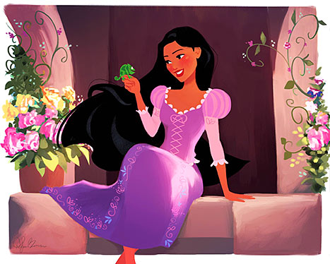 Pocahontas as Rapunzel
