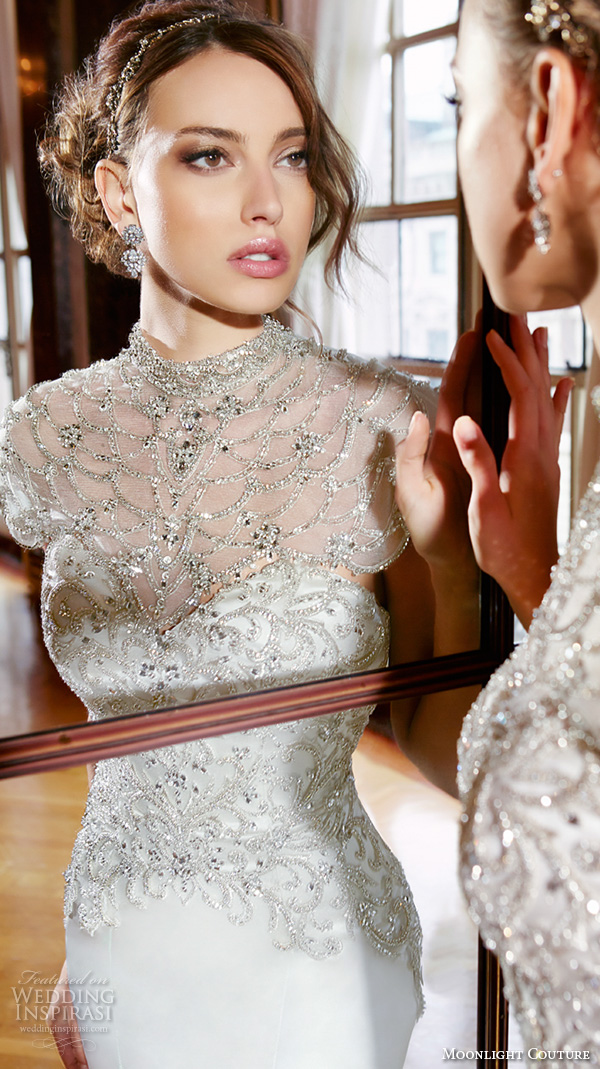 moonlight couture spring 2016 wedding dresses high neck illusion beaded neckline filigree beaded embroidery fit flare trumpet elegant mermaid gown h1295