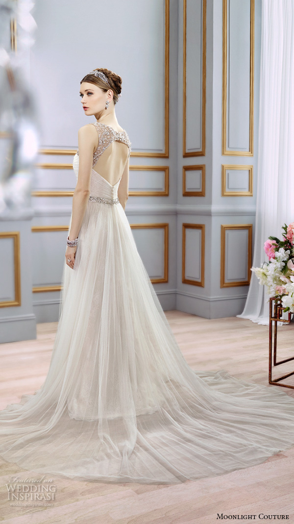 moonlight couture spring 2016 wedding dresses modified a line gown sleeveless beaded strap scoop neckline tulle skirt h1294 back