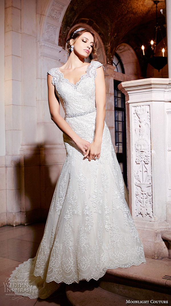 moonlight couture spring 2016 wedding dresses cap sleeves sweetheart scallop neckline embroidered trumpet fit flare pretty mermaid gown h1293