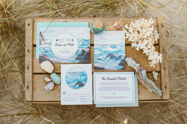 wedding invitations - photo by Hazelwood Photo http://ruffledblog.com/lincoln-city-beach-wedding-editorial