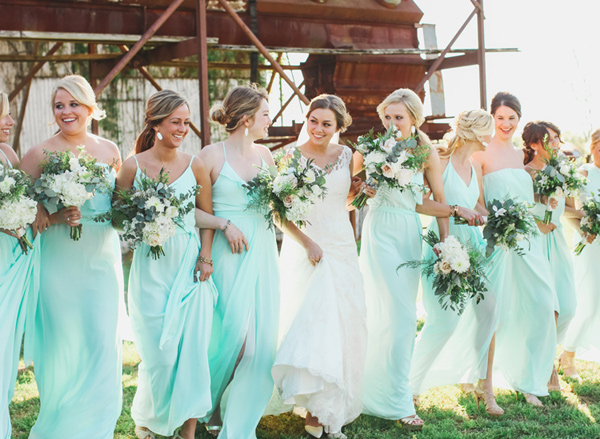 bridesmaids in aqua dresses - photo by Brandi Smyth http://ruffledblog.com/industrial-wedding-in-shreveport