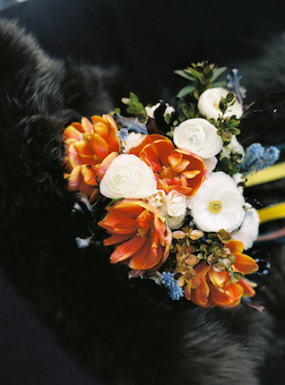Orange, white, and blue bridal bouquet | l'Artisan Photographe | see more on: http://burnettsboards.com/2015/09/urban-alpine-wedding-inspiration-shoot/