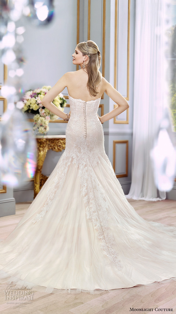 moonlight couture spring 2016 wedding dresses beautiful mermaid gown trumpet fit flare strapless sweetheart neckline lace bodice tulle h1291 back