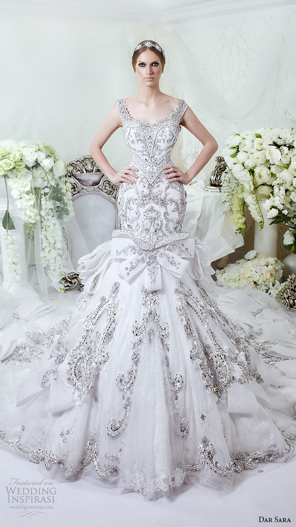 dar sara bridal 2016 wedding dresses stunning mermaid gown scoop neckline with beaded strap embellished embroidery
