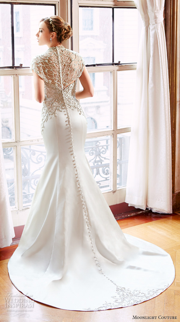 moonlight couture spring 2016 wedding dresses high neck illusion beaded neckline filigree beaded embroidery fit flare trumpet elegant mermaid gown h1295 back