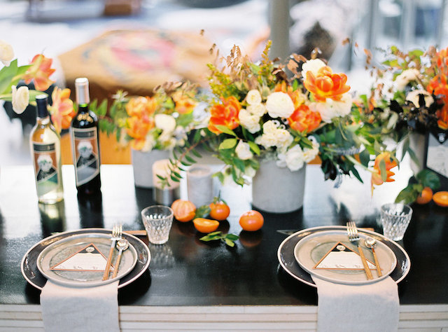Orange tablescape | l'Artisan Photographe | see more on: http://burnettsboards.com/2015/09/urban-alpine-wedding-inspiration-shoot/