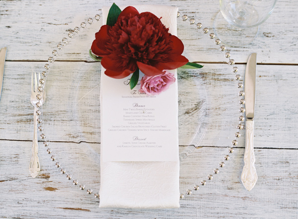 place setting - photo by Austin Gros http://ruffledblog.com/berry-toned-garden-wedding-splendor
