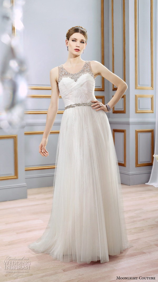 moonlight couture spring 2016 wedding dresses modified a line gown sleeveless beaded strap scoop neckline tulle skirt h1294