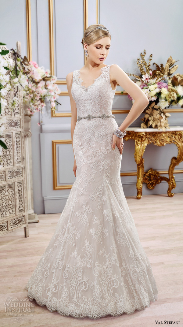 val stefani spring 2016 wedding dresses fit flare trumpet beautiful mermaid gown thick lace strap v neckline jeweled belt d8104