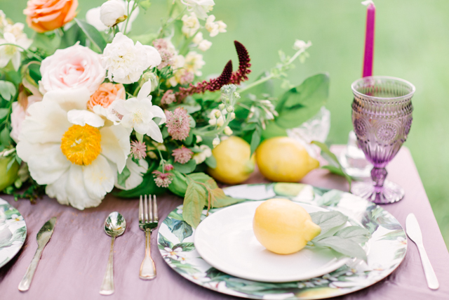 Lilac and lemon place setting | Olga Siyanko | see more on: http://burnettsboards.com/2015/09/lilac-lemon/