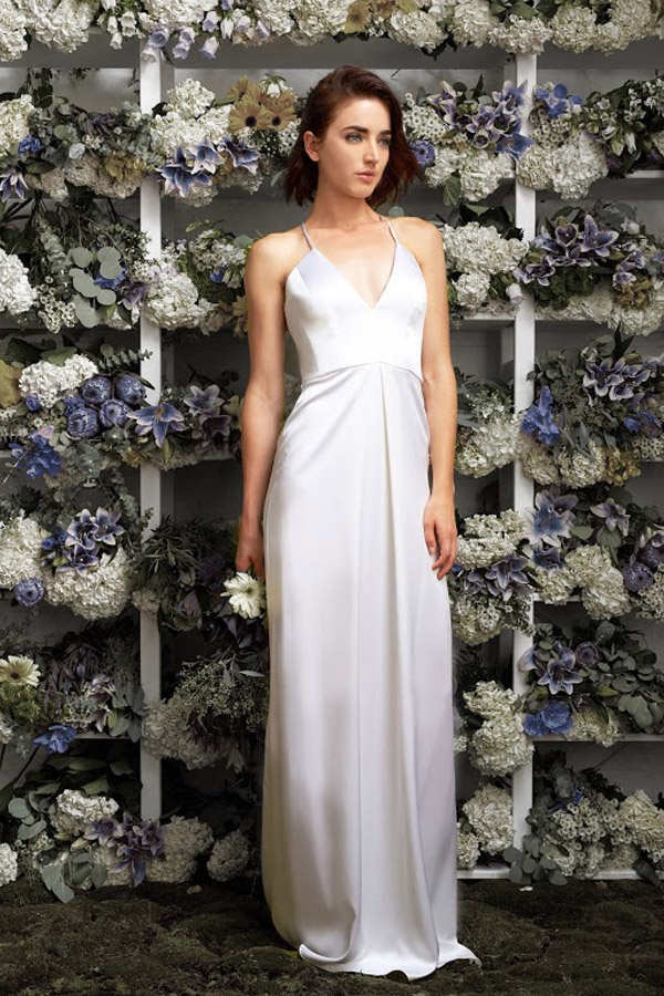 lakum bridal 2015 2016 exclusive wedding dress kleinfeld michelle sleeveless liquid dual faced satin gown