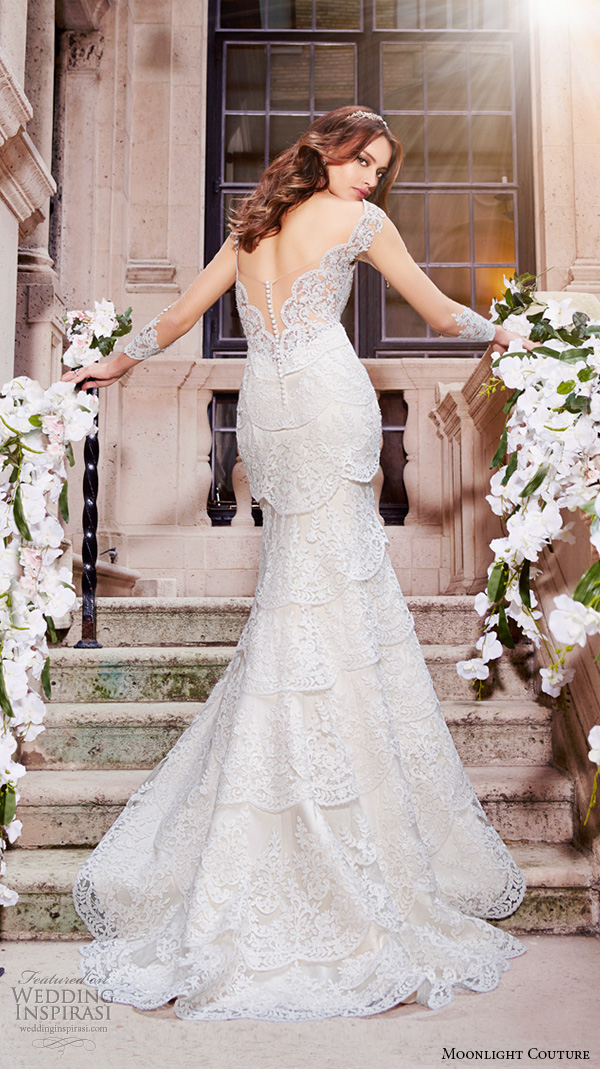 moonlight couture spring 2016 wedding dresses lace strap v neckline lace embroidery slim cut fit flare trumpet beautiful mermaid gown h1297 back