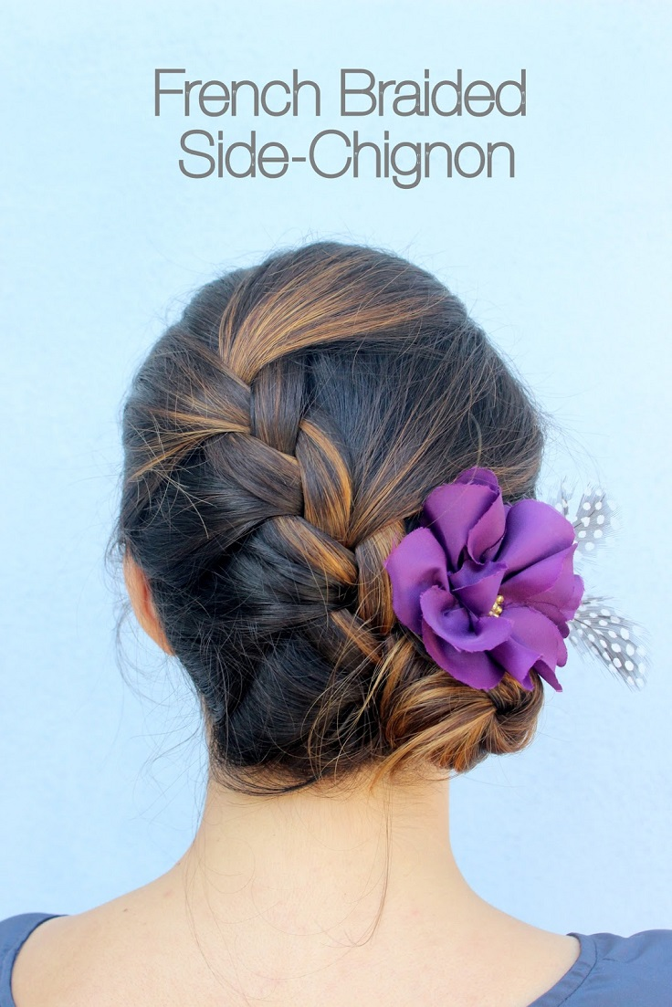 French Braided Side Chignon