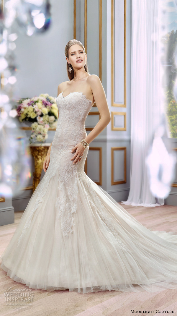 moonlight couture spring 2016 wedding dresses beautiful mermaid gown trumpet fit flare strapless sweetheart neckline lace bodice tulle h1291