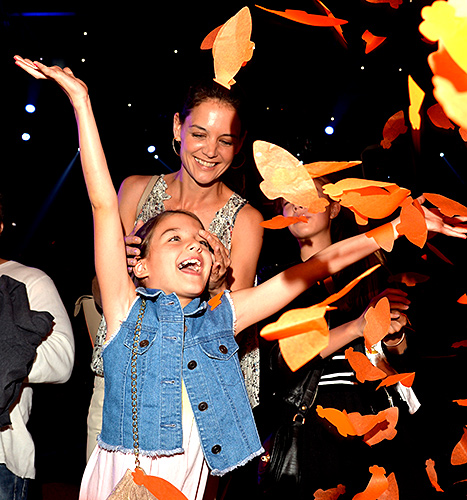 Suri Cruise and Katie Holmes in the audience during Nickelodeon's 28th Annual Kids' Choice Awards held at The Forum on March 28, 2015 in Inglewood, California.