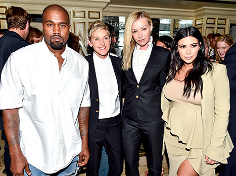 Kanye West, Ellen DeGeneres, Portia de Rossi, Kim Kardashian West at the ED by Ellen x BG Dinner Hosted by Josh Schulman and Linda Fargo held at BG Restaurant, NYC.
