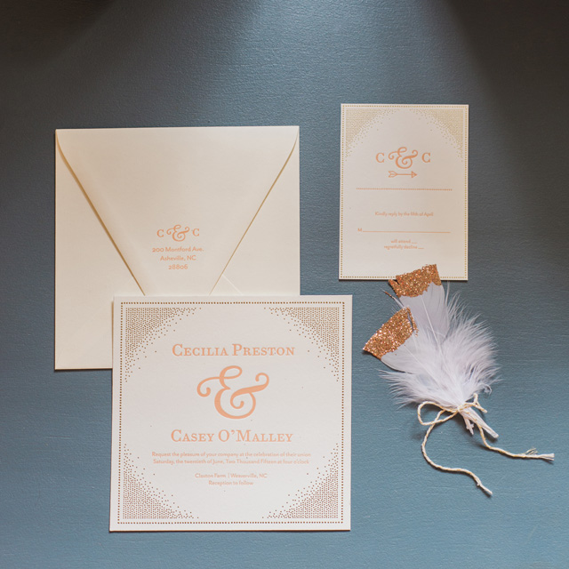 Gold and cream wedding invitation suite | Sarah Hooker Photography | see more on: http://burnettsboards.com/2015/09/art-deco-wedding-asheville/