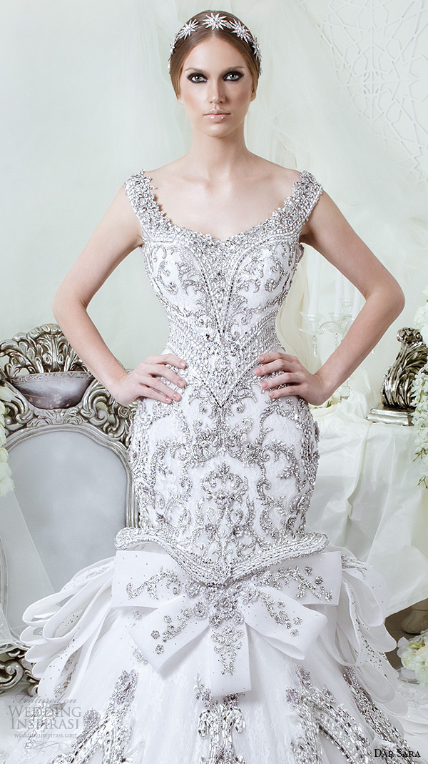 dar sara bridal 2016 wedding dresses stunning mermaid gown scoop neckline with beaded strap embellished embroidery closeup