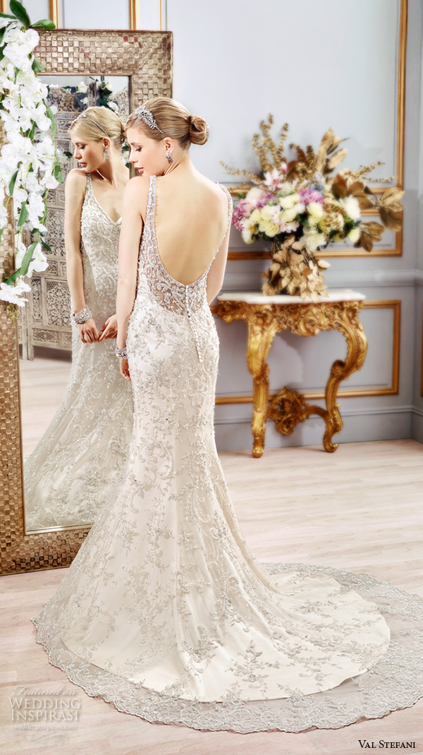 val stefani spring 2016 wedding dresses fit flare beautiful sheath gown v neckline sleeveless with strap beaded embroidered satin low open back b8108