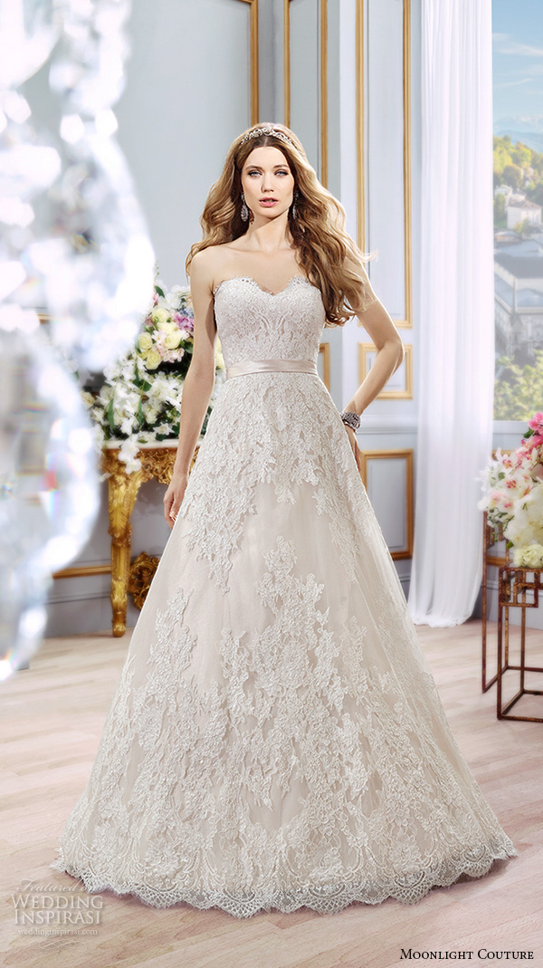 moonlight couture spring 2016 wedding dresses stunning a line gown strapless sweetheart neckline lace emrbroidered chapel train h1296