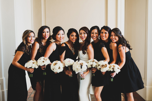 black bridesmaid dresses - photo by Chaz Cruz http://ruffledblog.com/boho-glam-wedding-in-colorado