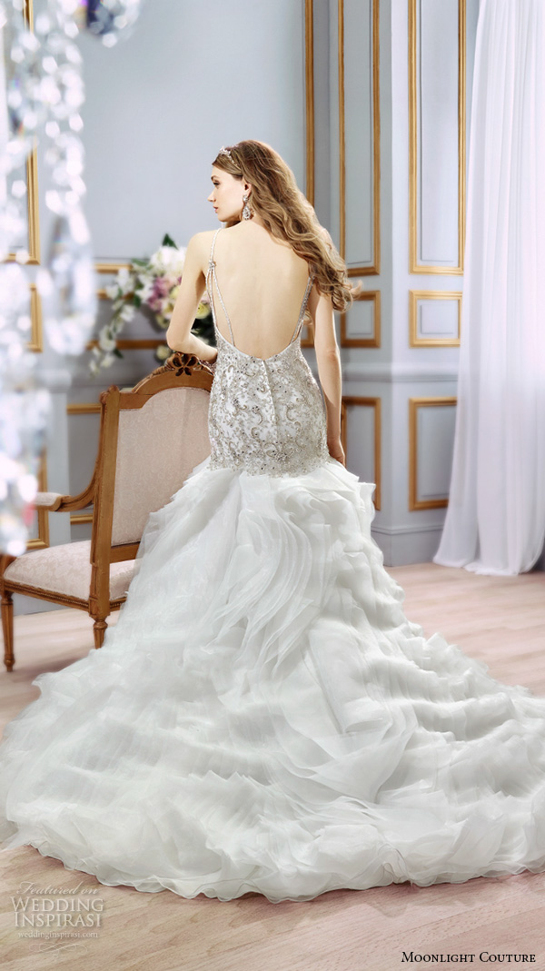 moonlight couture spring 2016 wedding dresses beautiful mermaid gown fit flare trumpet spagetti strap sweetheart neckline beaded embroidery h1298 back