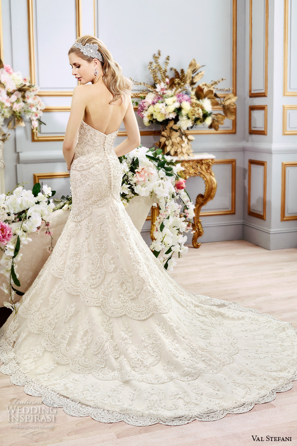 val stefani spring 2016 wedding dresses fit flare gorgeous mermaid gown strapless sweetheart neckline beaded embroidered bodice chapel train b8107 back